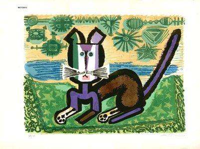 Oi, Motoi: Purple cat - Asian Collection Internet Auction