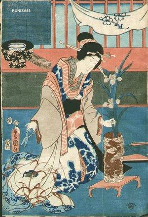 歌川国貞: Ikebana (flower arranging) - Asian Collection Internet Auction