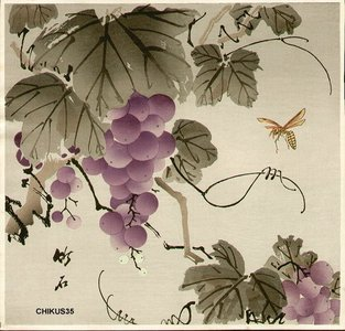 長町竹石: Grape and wasp - Asian Collection Internet Auction