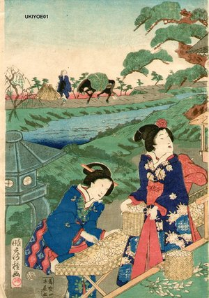 Utagawa Fusatane: Harvesting silk worms, 1 of triptych - Asian Collection Internet Auction