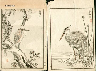 幸野楳嶺: Blue heron, night heron, and geese - Asian Collection Internet Auction