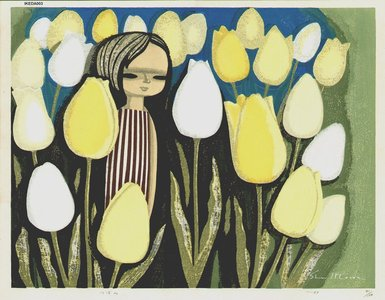Ikeda Shuzo: Girl in Tulips - Asian Collection Internet Auction