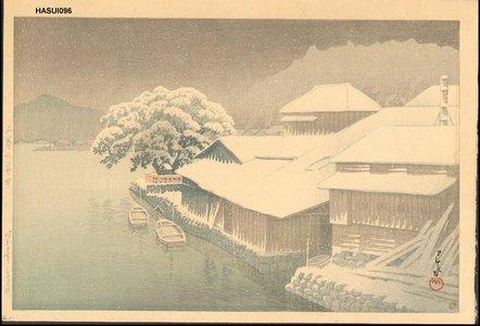 川瀬巴水: ISHINOMAKI NO BOSETSU (Ishinomaki in Snow) - Asian Collection Internet Auction