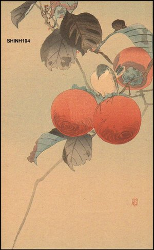 Shoson Ohara: Nuthatcher and persimmon - Asian Collection Internet Auction