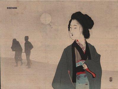富岡英泉: Woman in moonlight - Asian Collection Internet Auction