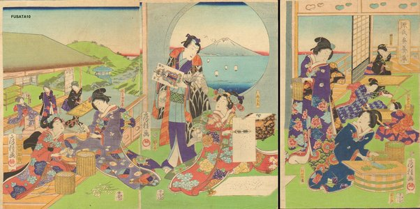 Utagawa Fusatane: GENJI-E (Tale of Genji) triptych - Asian Collection Internet Auction