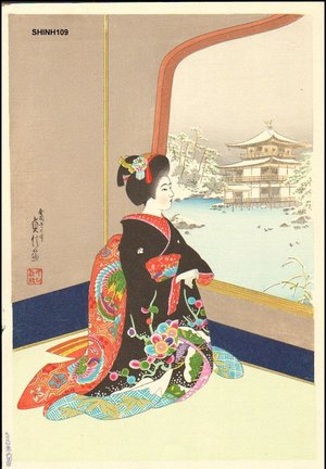 Hasegawa Sadanobu III: Beauty viewing Golden Pavillion - Asian Collection Internet Auction