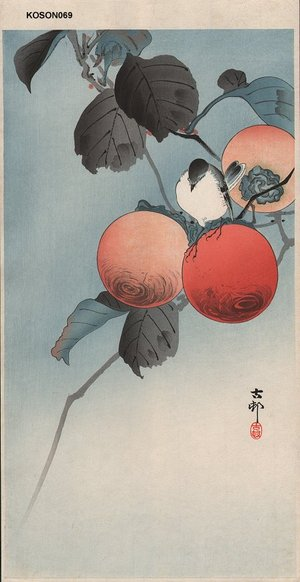 Shoson Ohara: Nuthatch and persimmons - Asian Collection Internet Auction