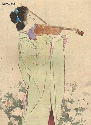 鏑木清方: Woman playing violin - Asian Collection Internet Auction