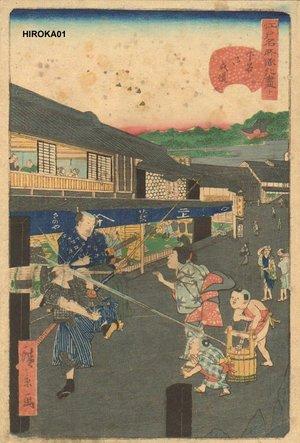 Utagawa Hirokage: Children use squirt gun - Asian Collection Internet Auction