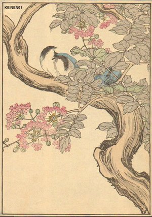 Imao Keinen: Blue birds - Asian Collection Internet Auction