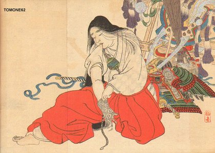 Kobori, Tomone: Woman dressing for battle - Asian Collection Internet Auction