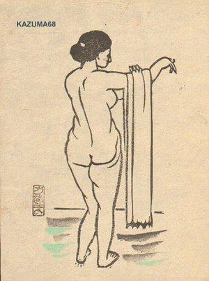 Oda Kazuma: Woman at bath - Asian Collection Internet Auction