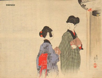 富岡英泉: Mother and daughter - Asian Collection Internet Auction
