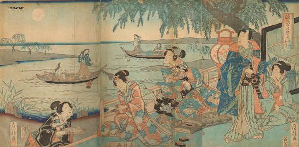 Utagawa Fusatane: Genji and ladies in waiting - Asian Collection Internet Auction