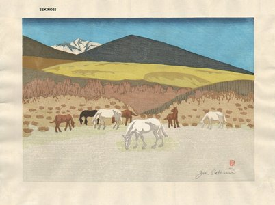 Sekino, Junichiro: Horses grazing - Asian Collection Internet Auction