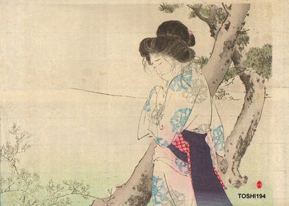 Mizuno Toshikata: Beauty weeping by pine - Asian Collection Internet Auction