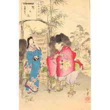 Mizuno Toshikata: Beauty with masked courtier - Asian Collection Internet Auction