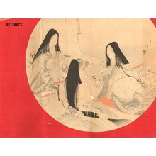 Tomioka Eisen: Three court ladies writing poems on TANZAKU - Asian Collection Internet Auction