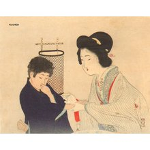 富岡英泉: GEISHA tempting boy with sake - Asian Collection Internet Auction