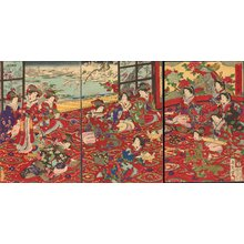 Toyohara Chikanobu: Court Ladies enjoying snowy day - Asian Collection Internet Auction