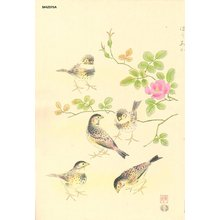 Ashikaga, Shizuo: Rosy Finch and Wild Rose - Asian Collection Internet Auction