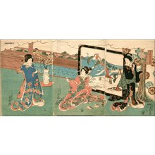 Utagawa Fusatane: Triptych - Asian Collection Internet Auction