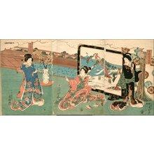 歌川房種: Triptych - Asian Collection Internet Auction