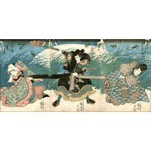 歌川国芳: Actors Iwai, Ichikawa, and Sawamura - Asian Collection Internet Auction