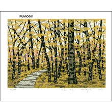 Fujita, Fumio: Mountain Path in Autumn - Asian Collection Internet Auction
