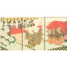 Toyohara Chikanobu: Viewing theater - Asian Collection Internet Auction