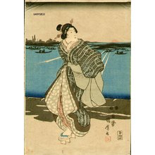 歌川国麿: Courtesans at sunset - Asian Collection Internet Auction