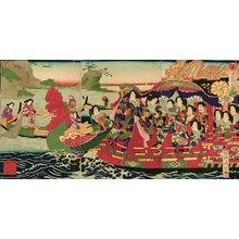 豊原周延: Emperor visiting fisherwomen in royal barge - Asian Collection Internet Auction