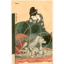 喜多川歌麿: BIJIN-E (beauty print), woman nursing - Asian Collection Internet Auction