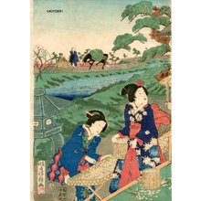 歌川房種: Harvesting silk worms, 1 of triptych - Asian Collection Internet Auction