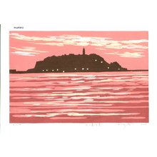 Fujita, Fumio: ENOSHIMA YUKEI (Evening Scene at Enoshima) - Asian Collection Internet Auction