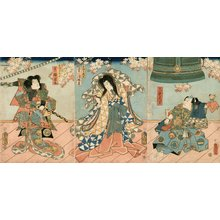 歌川国貞: Three actors and KANE (bell) - Asian Collection Internet Auction