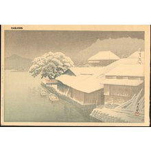 川瀬巴水: ISHINOMAKI NO BOSETSU (Ishinomaki in Snow) - Asian Collection Internet Auction