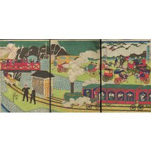 歌川芳虎: Picture of Steam Train in Tokyo - Asian Collection Internet Auction