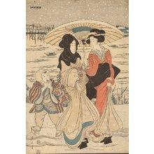 Kikugawa Eizan: Courtesans in the snow - Asian Collection Internet Auction