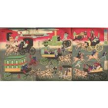 歌川芳虎: Drawing of Tokyo Street Traffic Vehicals - Asian Collection Internet Auction