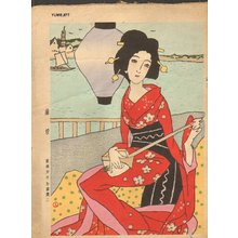 Takehisa Yumeji: High Climb, woman with shamisen - Asian Collection Internet Auction