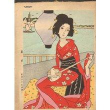 Takehisa Yumeji: High Climb, woman with shamisen - Asian Collection Internet Auction