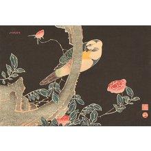 伊藤若冲: Parrot and Roses - Asian Collection Internet Auction
