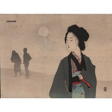 富岡英泉: Woman in moonlight - Asian Collection Internet Auction