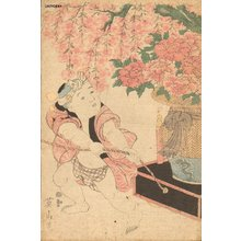 Kikugawa Eizan: Boy and IKEBANA (flower arrangement) - Asian Collection Internet Auction