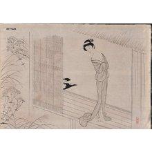 Komura, Settai: Beauty on veranda, in the style of Harunobu - Asian Collection Internet Auction
