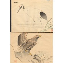 Kajita Hanko: Two book pages, eagle and crane - Asian Collection Internet Auction