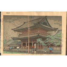 Asano Takeji: Rain in Higashi-Honganji Temple, Kyoto - Asian Collection Internet Auction