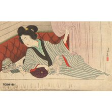 Mizuno Toshikata: Beauty in train sleeping compartment - Asian Collection Internet Auction